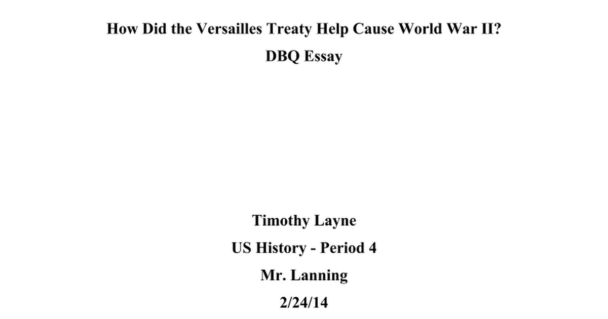 treaty of versailles dbq