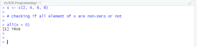 This Example shows an example for all() function under R Programming.