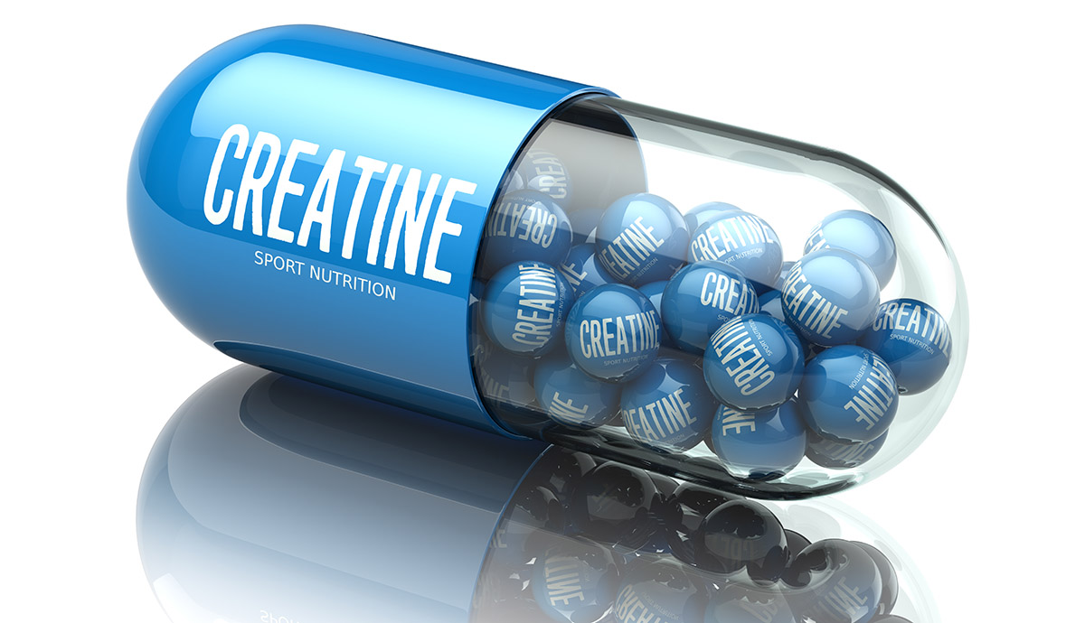 Close-up photo of creatine fitness supplements