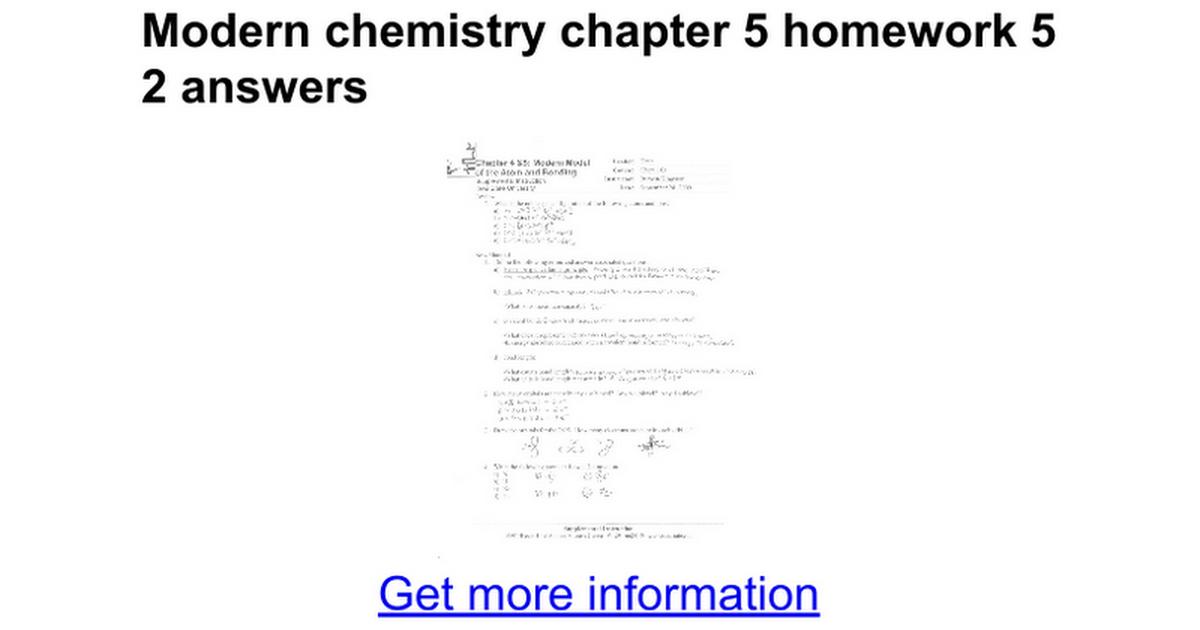 Modern Chemistry Worksheets - Switchconf