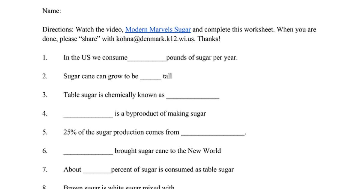 Modern Marvels Sugar Google Docs – Modern Marvels Worksheets