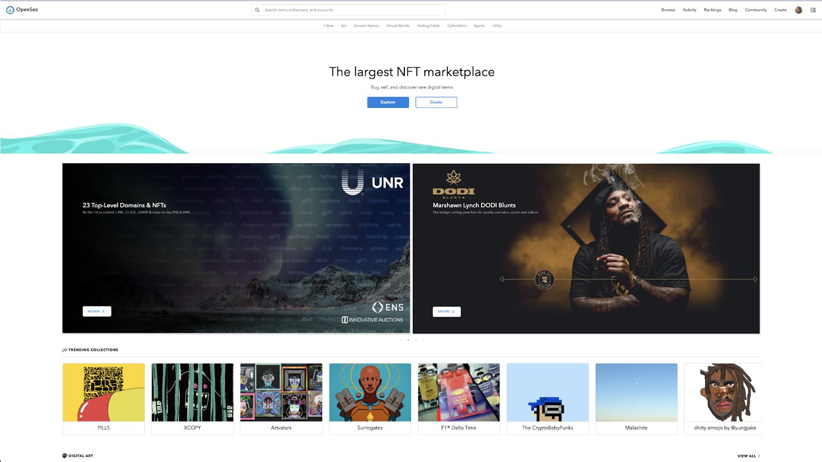 Opeansea marketplace homepage.