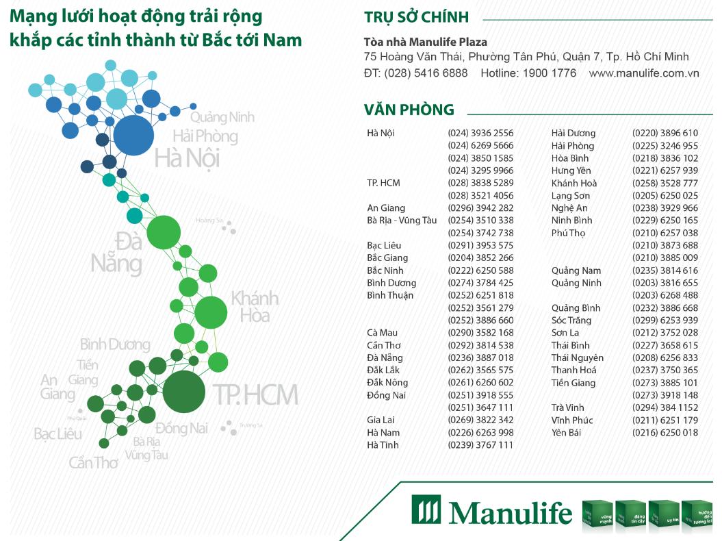 Mạng lưới bảo hiểm Manulife trải dài, rộng khắp Việt Nam