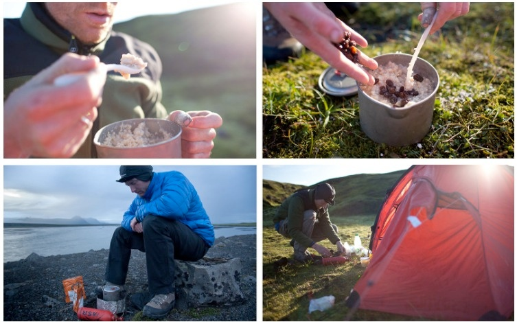 a collage of a man camping and cooking oatmeal
