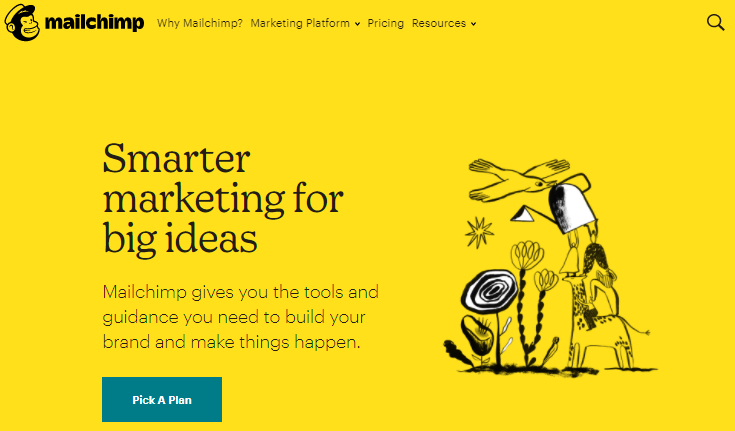 página inicial do MailChimp