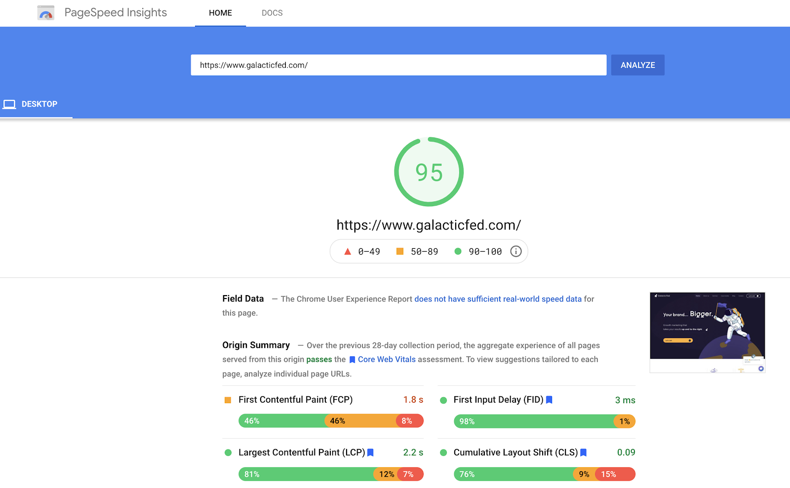PageSpeed Insights of galacticfed.com showing 95% score.