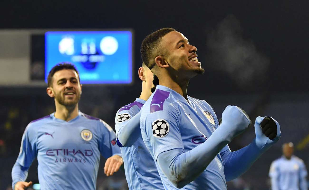 Gabriel Jesus of Manchester City celebrates scoring a goal - Photo by Dan Mullan/Getty Images