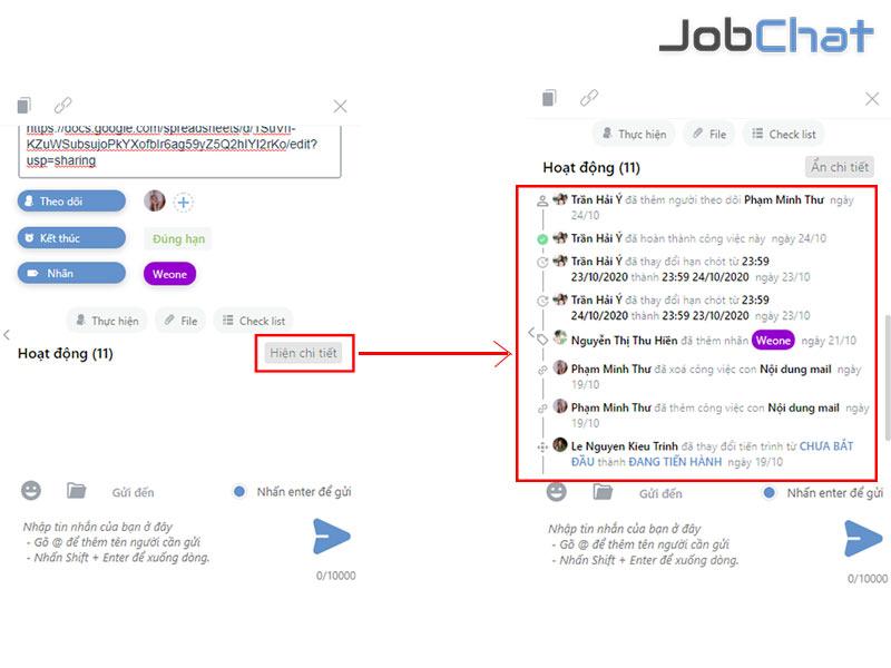 Cách theo dõi lịch sử công việc trong Jobchat