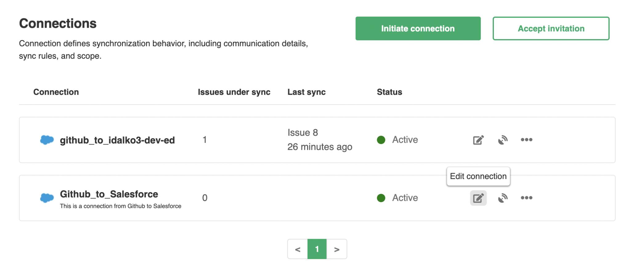 edit Salesforce Github connection