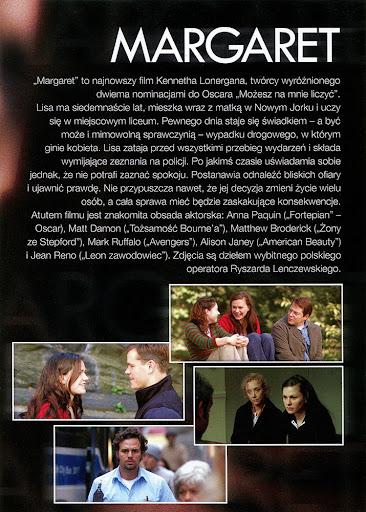 Tył ulotki filmu 'Margaret'