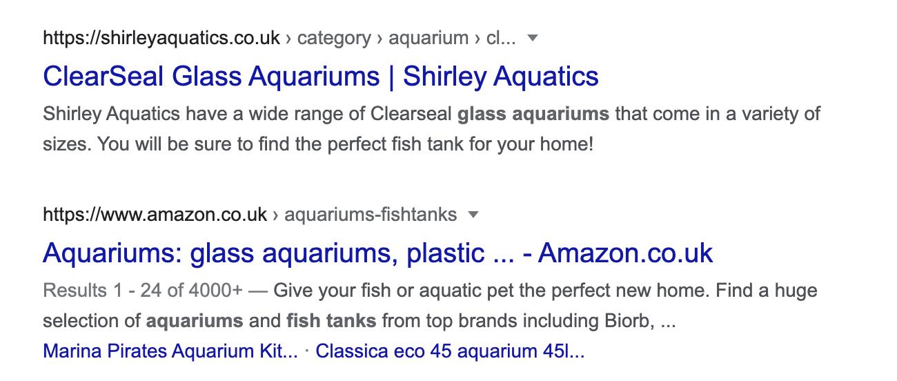 Google ranking above Amazon on a google SERP