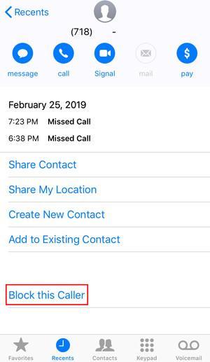 Screen to block an iOS call