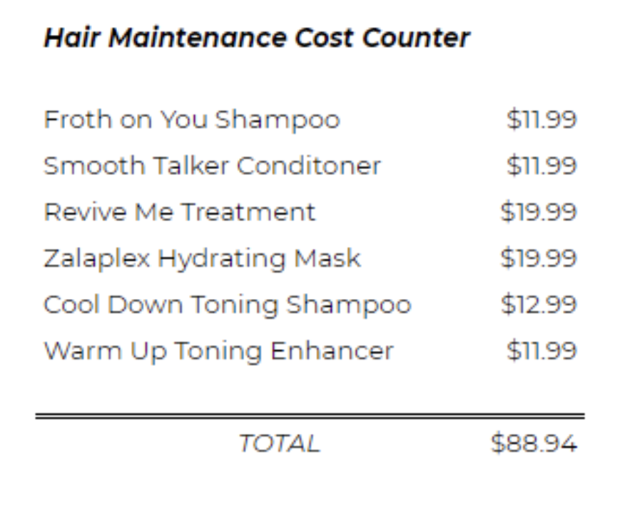 hair maintenance costs