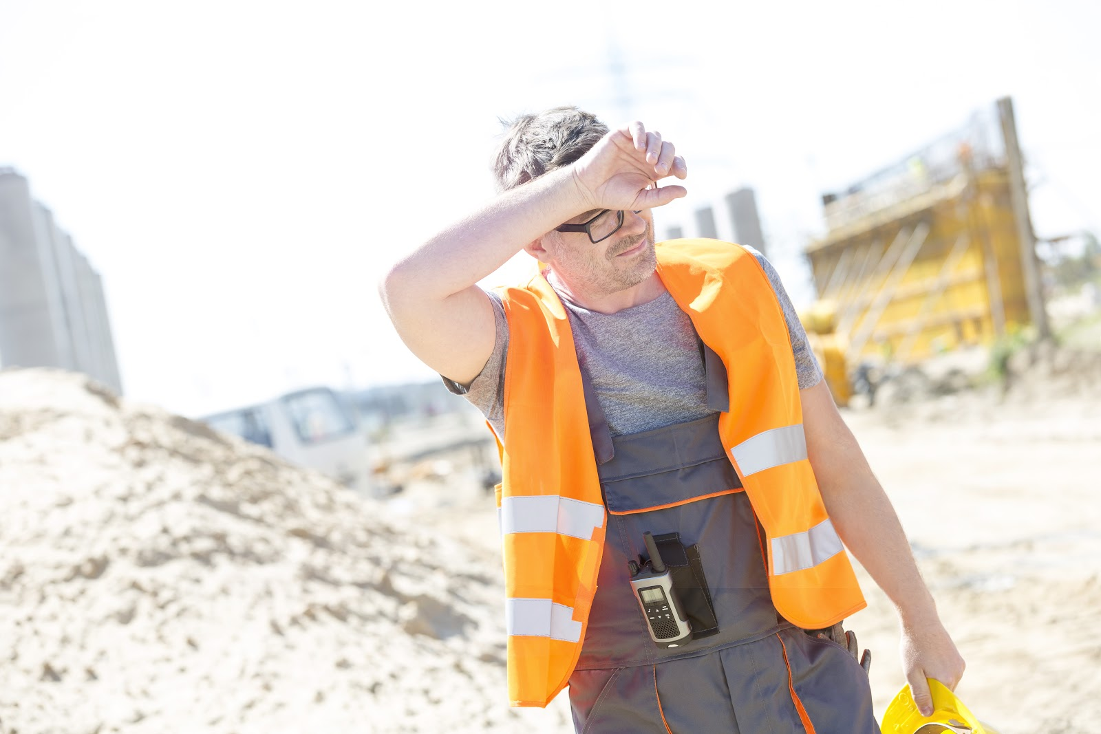 Construction worker outside during hot weather