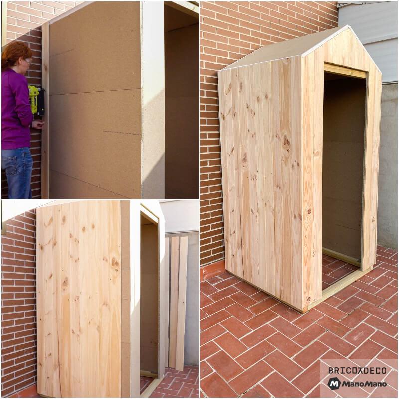 revestimiento de madera para una caseta de terraza