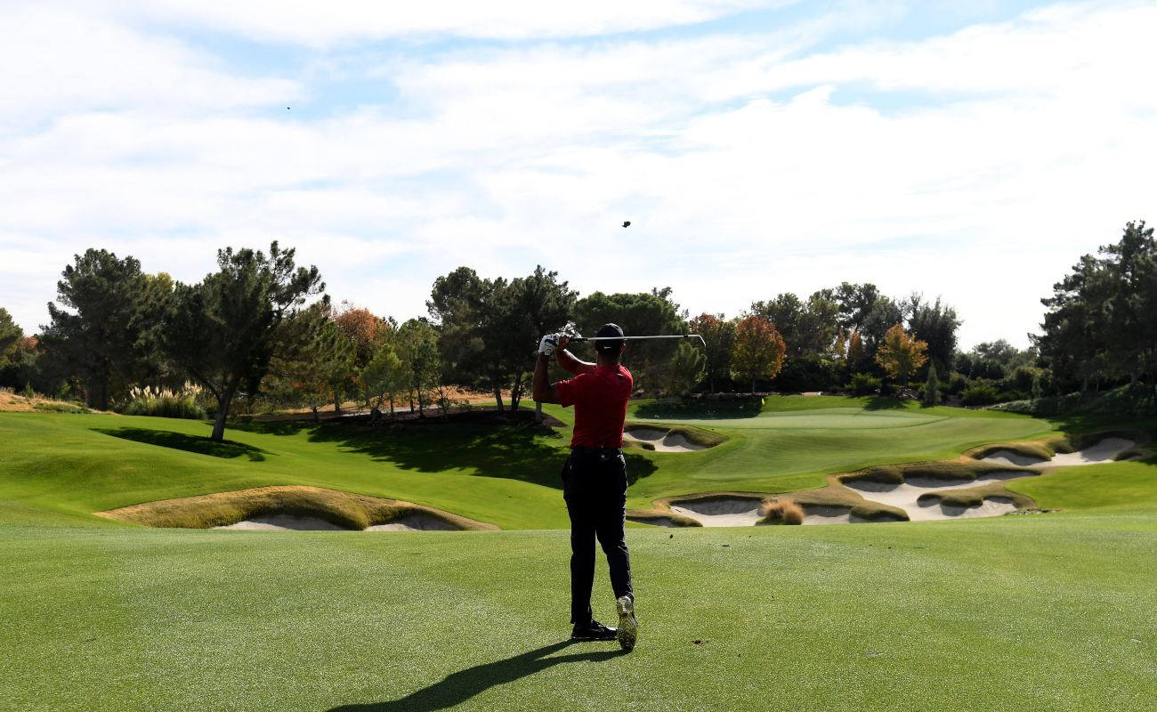 Tiger Woods plays a practice round before The Match at Shadow Creek Golf Course on November 20, 2018 in Las Vegas, Nevada. (Photo by Harry How/Getty Images for The Match)