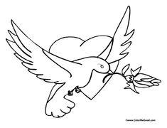 A bird valentine coloring page