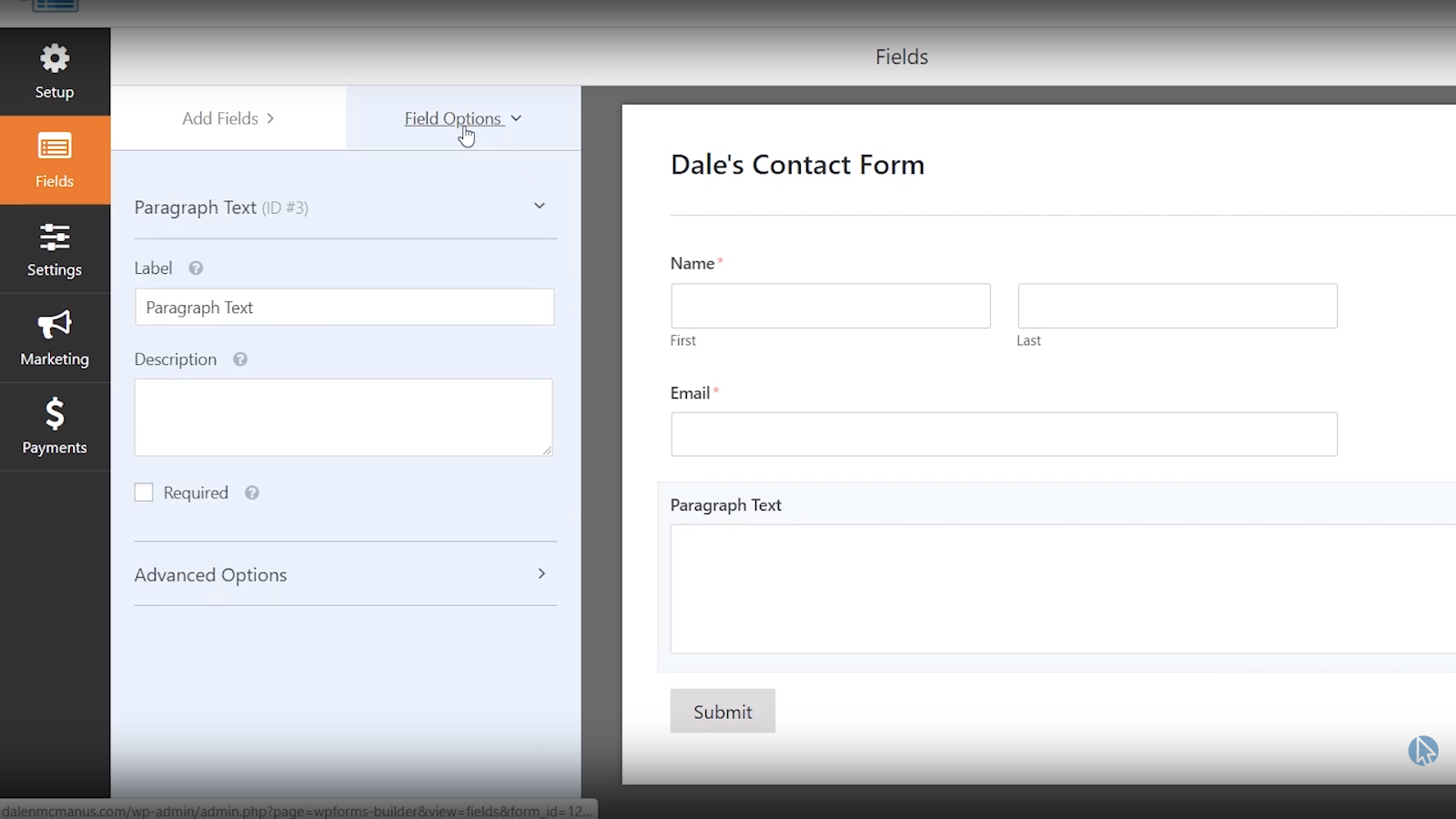 wpforms contact form fields