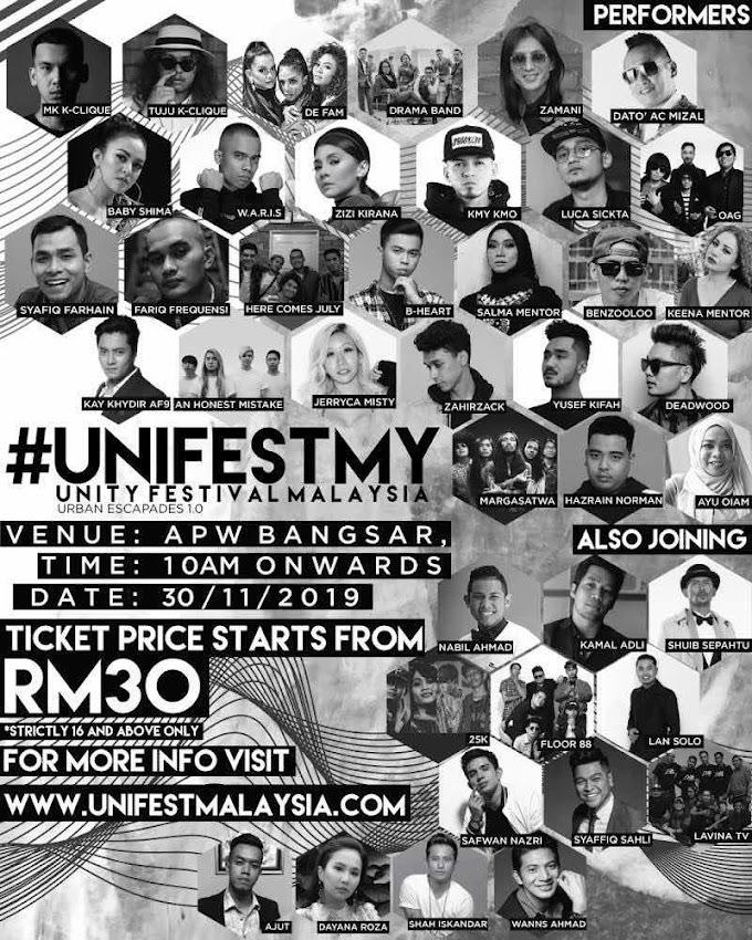 Unity Festival Malaysia Himpunkan Artis Terkemuka Malaysia