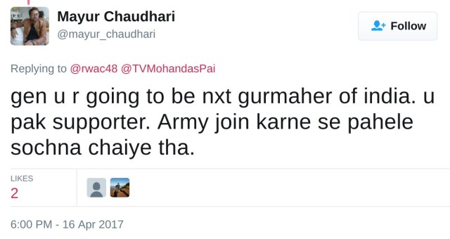 gen u r going to be nxt gurmaher of india. u pak supporter. Army join karne se pahele sochna chaiye tha.