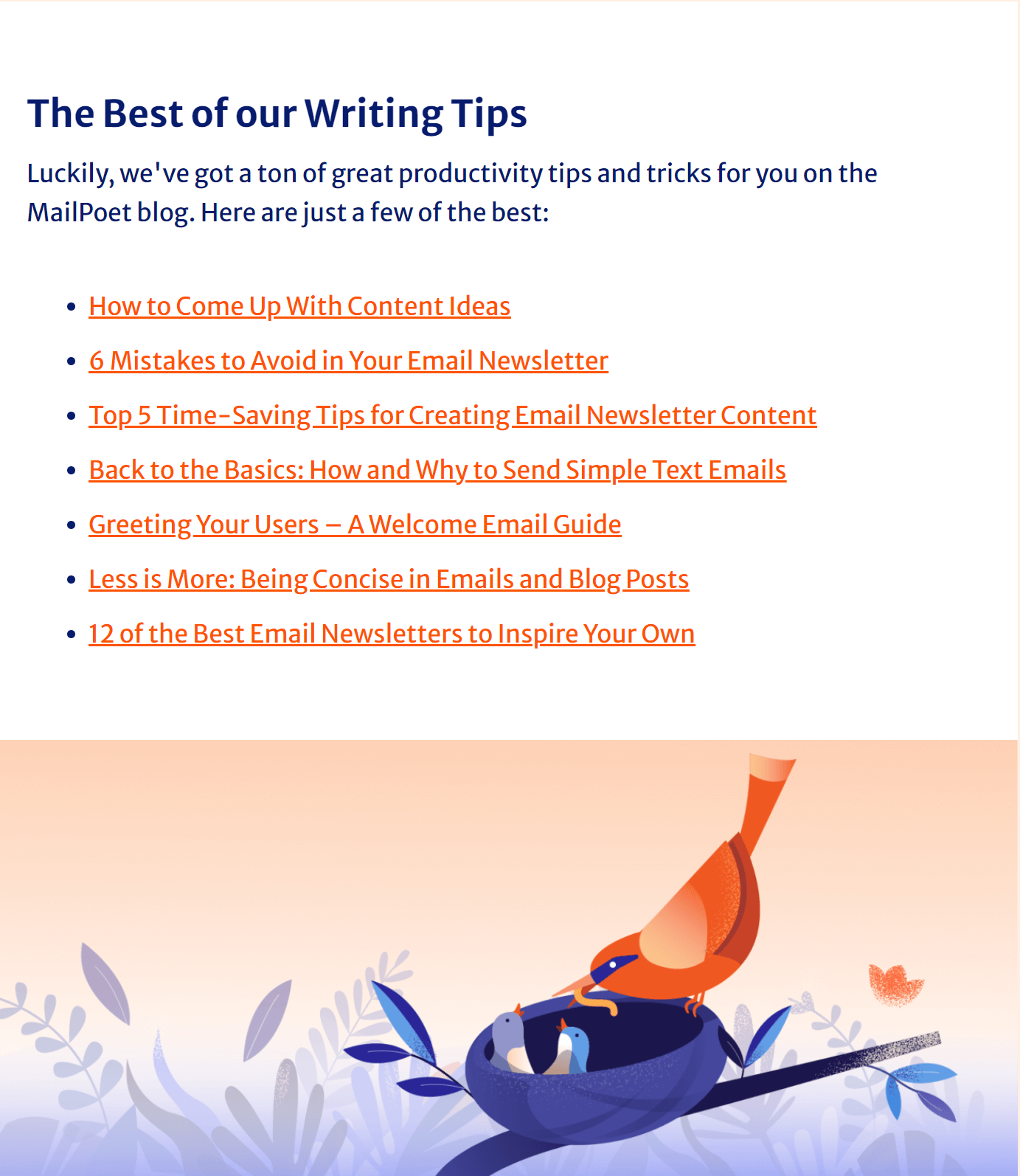 Example of links in an email course from MailPoet
