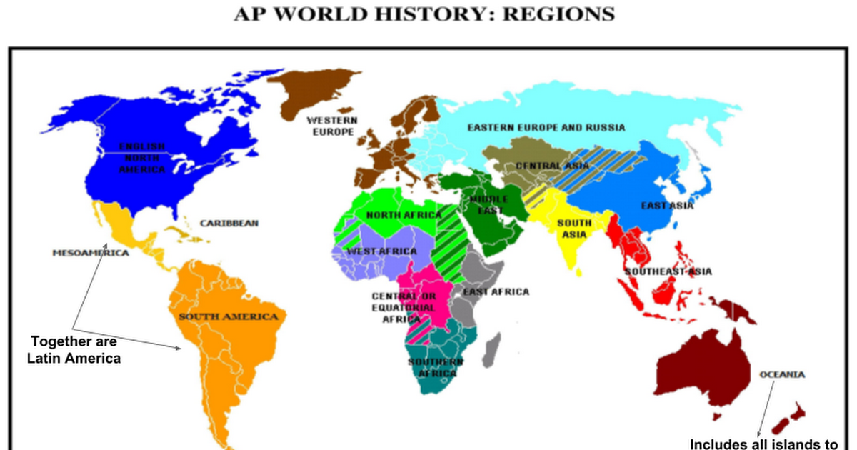 Ap World Regions Map And Time Periods Google Slides