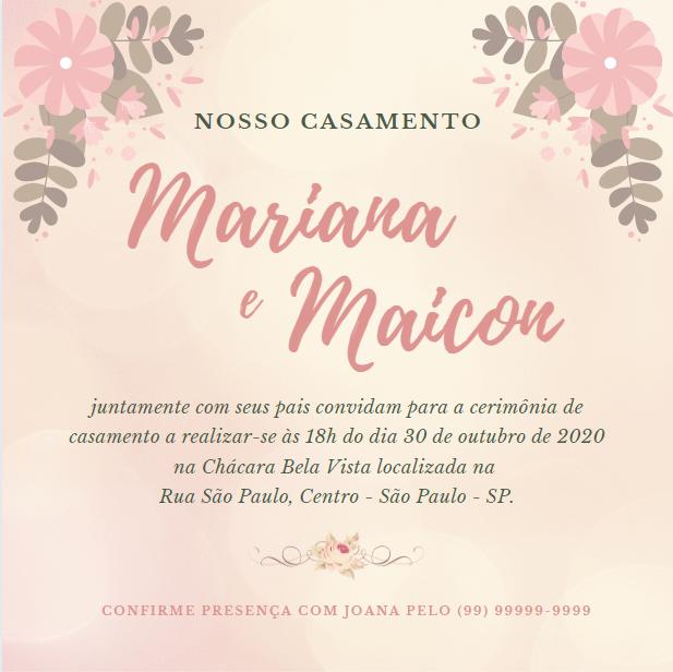 Resultado Final Criar Convite Casamento Online Grátis Canva