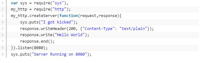 node js creating HTTP server