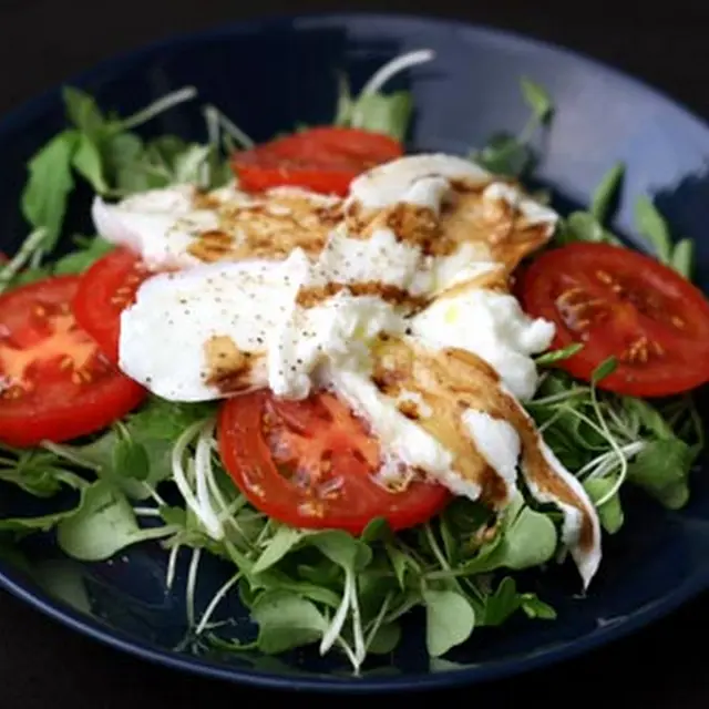 Tomato and Mozzarella Salad with Microgreens