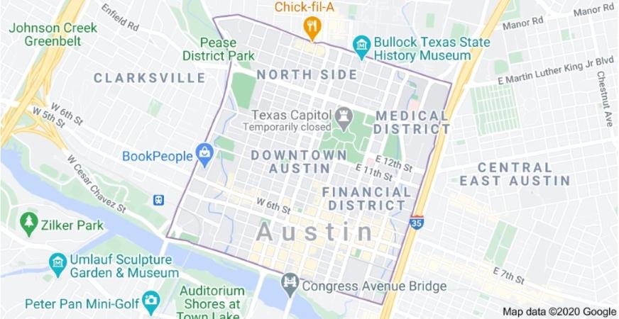 Downtown Austin, TX map