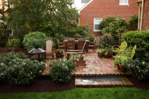 patio with portable firepit