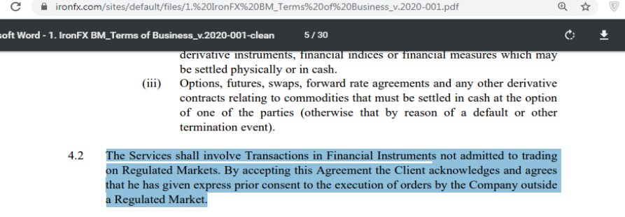Terms and Conditions of IronFX stating its unregulated