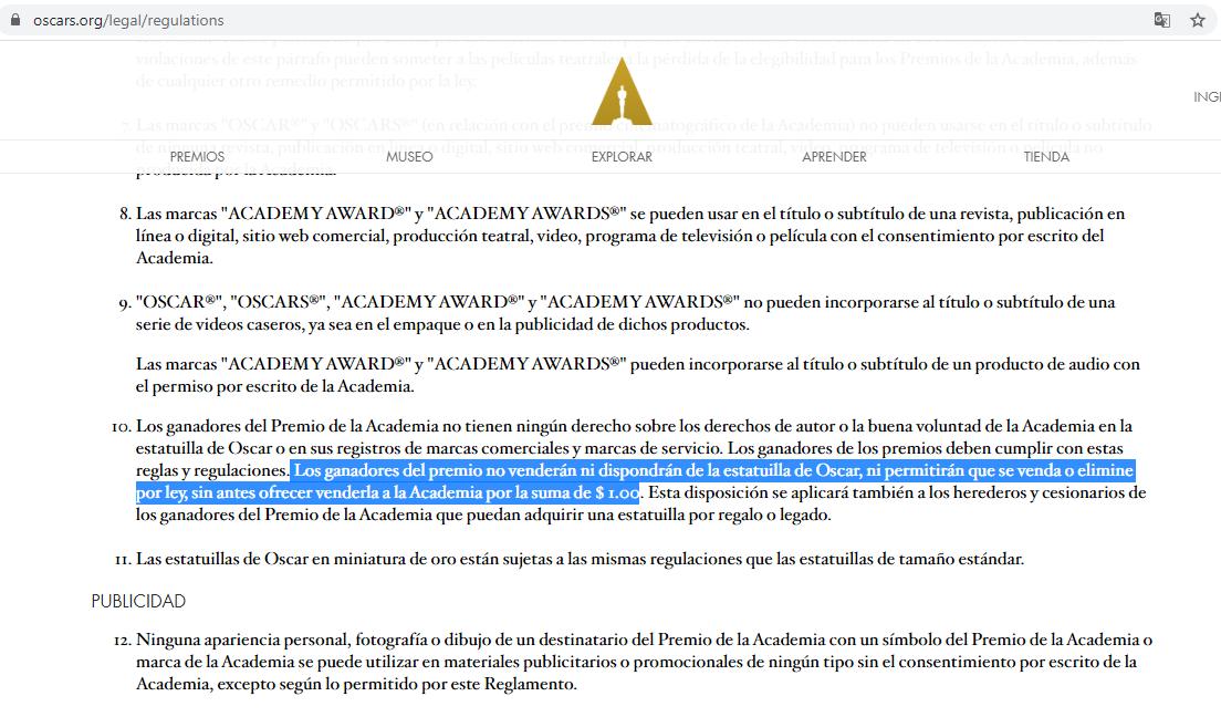 Regulaciones de premios Oscar. Precio de la estatuilla dorada