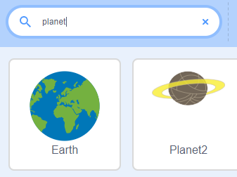 planet searched for in sprites, in scratch