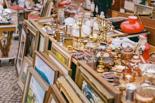 Flea Market with many paintings and houseware