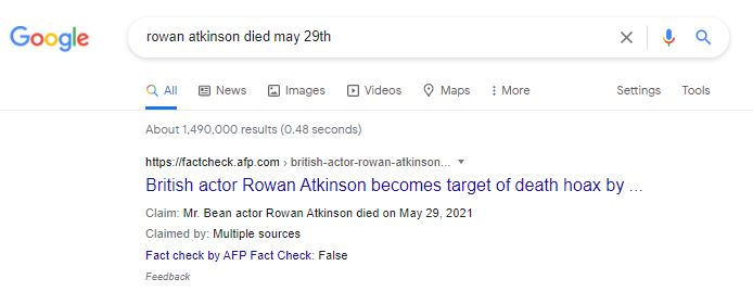 Example of a Google fact check label