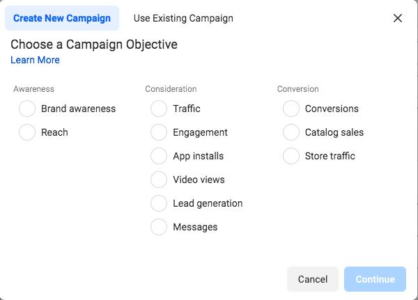 Choosing a Facebook campaign goal