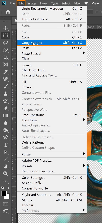 choose Edit > Copy Merged.