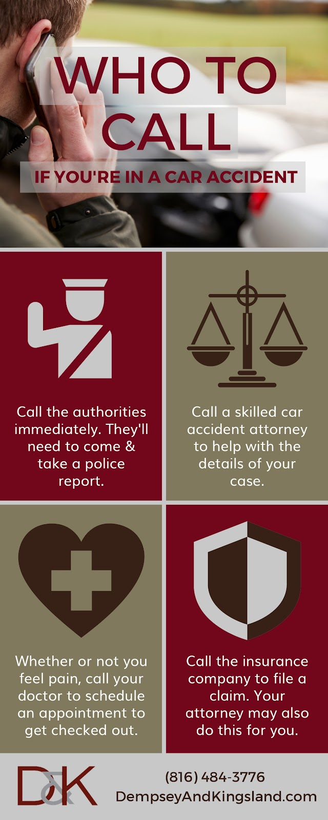 Infographic of who to call after being involved in a car accident