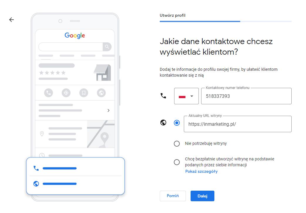 dane kontaktowe google moja firma