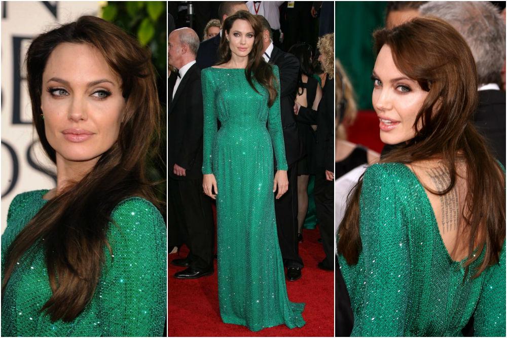 Angelina Jolie In Atelier Versace at Golden Globe Awards 2011