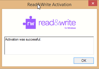 Activation Successful Message