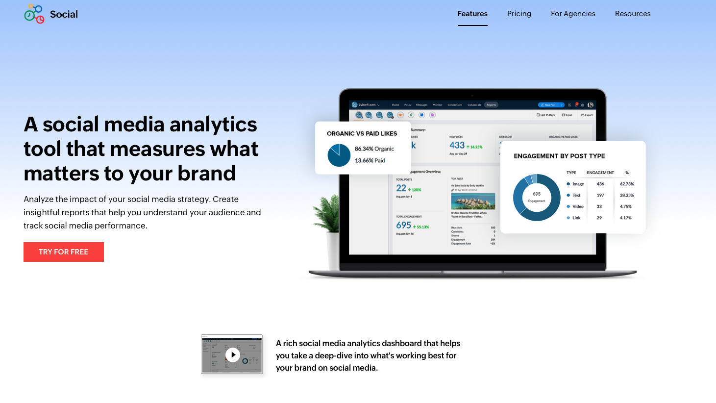Screen shot of the Zoho Social home page