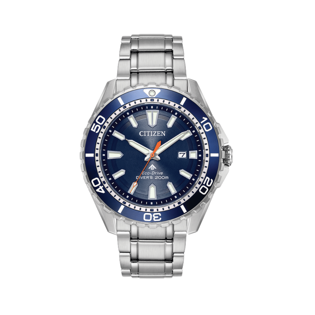 Citizen dive watch with a silver steel bracelet and case. Featuring a navy dial and a navy bezel.