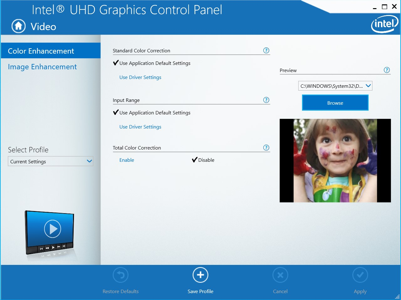 Intel Graphics Control Panel Video Settings page