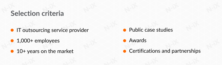 Selection criteria for IT services companies