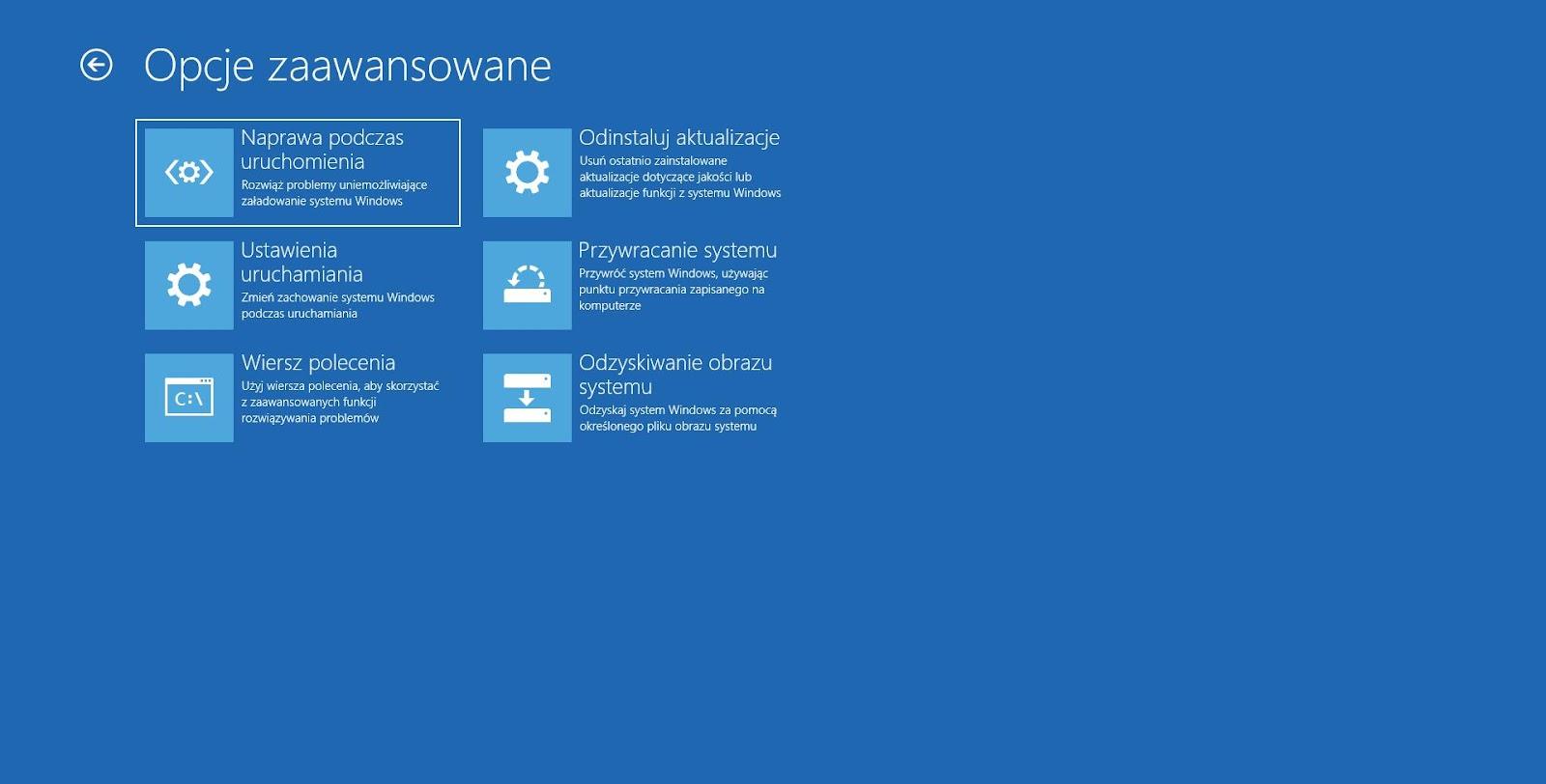 Windows 10 naprawa podczas uruchomienia