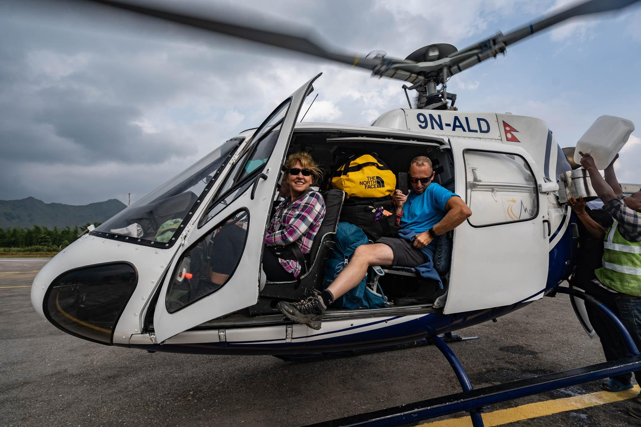 Hikers arriving on a helicopter