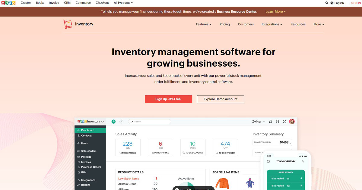 Zoho website