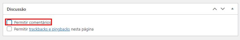 botão de desabilitar comentários no wordpress para arquivos de mídia